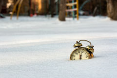 A Watches are shipped in pure white snow. Watches are shipped in pure white snow royalty free stock photography