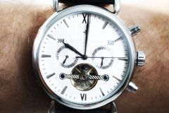 Watches with white dial Royalty Free Stock Images