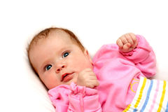 Watchful baby on pillow Royalty Free Stock Images