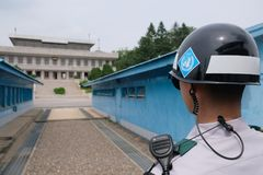 Watchful eyes at the DMZ in Panmunjom Stock Photography