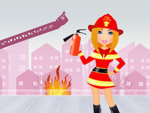 Watchful fire woman. Illustration of watchful fire woman Royalty Free Stock Image