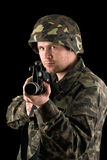 Watchful soldier with m16. In the hands Royalty Free Stock Photo