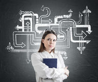 Watchful woman with a book, arrow maze Stock Image