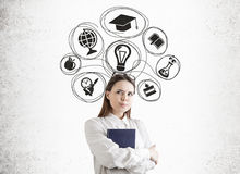 Watchful woman with a book, education sketch Royalty Free Stock Photography