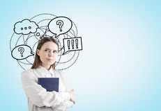 Watchful woman with a book, speech bubble Royalty Free Stock Photo