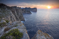 Watchig Sunset On The Cliffs Of Cap De Formentor Stock Images