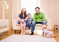 Watching 3D Movie Royalty Free Stock Photos