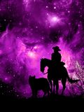 Western stargazing. Cowboy on his horse, a dog close to him, looking at a violet universe rising in front of them