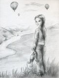 Watching for balloons - sketch. Girl with teddy bear invites you to watch hot air balloon show from the hill Royalty Free Stock Photography