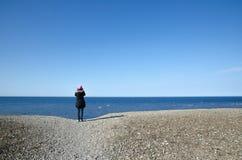 Watching blue sea Stock Photo