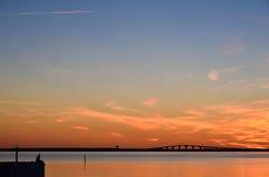 Watching bridge at sunset Stock Images