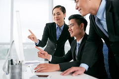 Watching business presentation Stock Photos