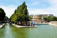 Watching the canal boats at the Quai de la Marne Royalty Free Stock Photo