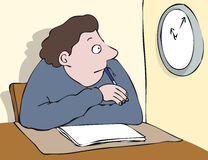 Watching clock. Young seated man with pen watching clock stock illustration
