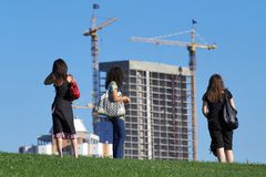Watching the construction Stock Photo