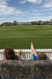 Watching the cricket Stock Images