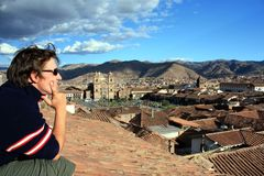 Watching cusco. Watching view over cusco, peru royalty free stock photo
