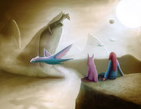 Watching Dragons. Illustration and digital painting . Theme: Fantasy and science fiction. Scenario: alien landscape , Dreamspace . A red-haired girl and her pet stock illustration