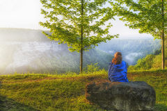 Watching The Early Morning Sunrise At Letchworth State Park Stock Photography