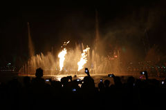 Watching firework and fountain Royalty Free Stock Image
