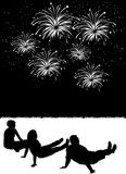 Watching_fireworks Fotos de Stock Royalty Free