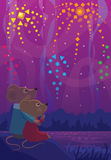 Watching The Fireworks. Cute mice couple are sitting on a rock and watching the colorful fireworks Royalty Free Stock Image