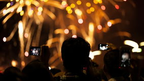 Watching Fireworks silhouetted crowd. Holiday backgrounds. stock video footage