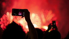 Watching Fireworks silhouetted crowd. Holiday backgrounds. stock footage