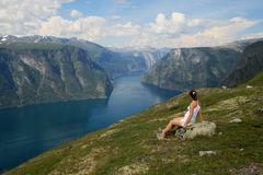 Watching the fjord Royalty Free Stock Photo