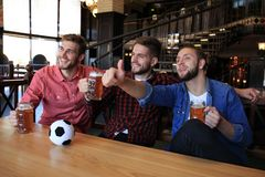 Watching football in bar. Happy friends drinking beer and cheering for favorite team, celebrating victory royalty free stock photo