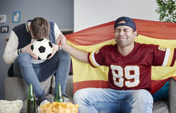 Watching football game Royalty Free Stock Images