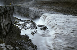 Watching the great Dettifoss waterfall in the night. Stock Image