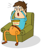 Watching horror movie. Illustration of a man watching horror movie Royalty Free Stock Photos