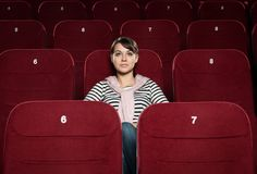 Watching a movie Stock Image