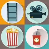 Watching Movie icon set. Cinema icon set. Watching Movie. Film strip, Film Reel, Camera, Popcorn, Cocktail Paper Glass with Tube. Digital background vector Royalty Free Stock Image
