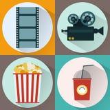Watching Movie icon set Royalty Free Stock Image
