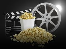 Watching movie with popcorn on black background stock photos