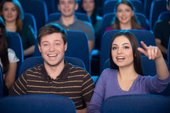Watching movie together. Royalty Free Stock Photography