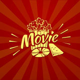 Watching a movie, vector typography Royalty Free Stock Photos