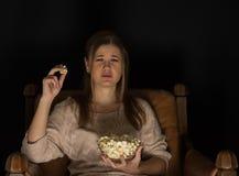 Watching movie Stock Photo