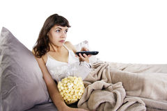 Watching Movies In Bed Stock Image