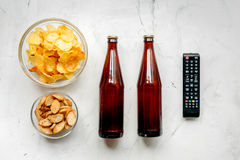 Watching movies set with chips on white background top view mock up Royalty Free Stock Images