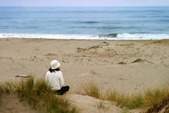 Watching The Ocean. Young woman sitting at the beach looking over the ocean Stock Photos