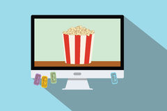 Watching online movie Royalty Free Stock Photo