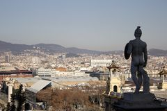 Watching over the city of Barcelona Stock Photography