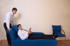 Watching over. Example of dual personality at psychologist Stock Photography