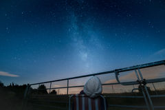 Watching the perseid meteor shower, milky way and stars Stock Photography