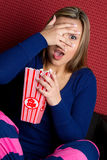Watching Scary Movie Royalty Free Stock Photo