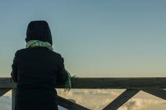 Watching the sea of clouds. A winter afternoon in El Roque de Los Muchachos Royalty Free Stock Photo