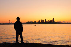 Watching the Seattle sunrise royalty free stock images
